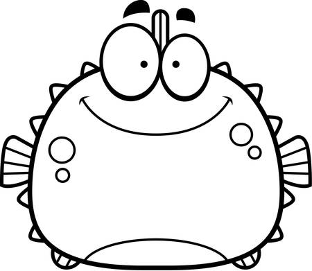 pufferfish: A cartoon illustration of a blowfish smiling.