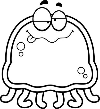 intoxicated: A cartoon illustration of a jellyfish looking drunk.