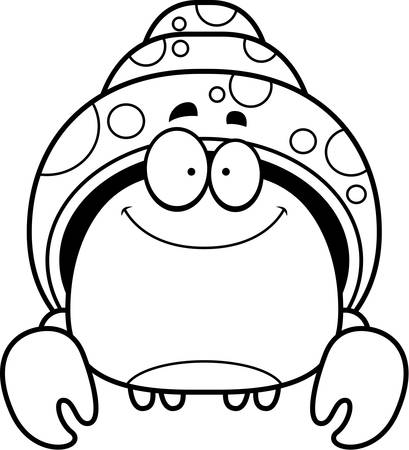 A cartoon illustration of a hermit crab smiling. 向量圖像