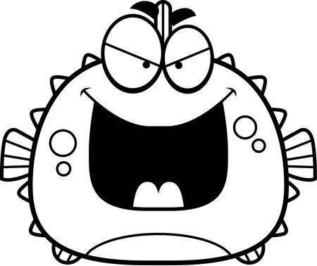 pez globo: Una ilustraci�n de dibujos animados de un pez globo que mira mal.