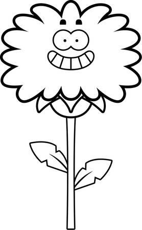 Een cartoon illustratie van een paardebloem op zoek gelukkig.