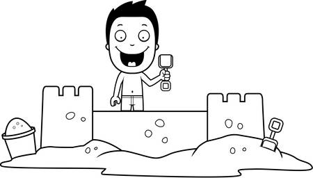 sandcastle: A cartoon illustration of a boy building a sandcastle.
