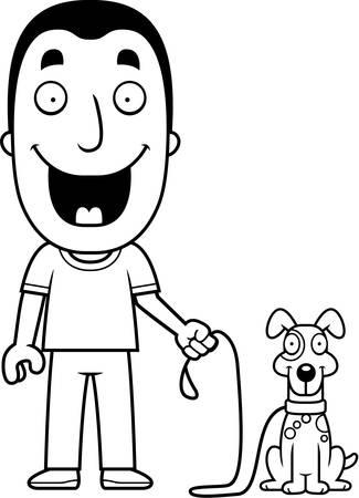 A happy cartoon man walking the dog.