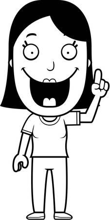 A happy cartoon woman with an idea.