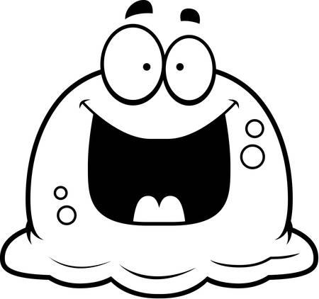 phlegm: A cartoon illustration of a booger looking happy. Illustration