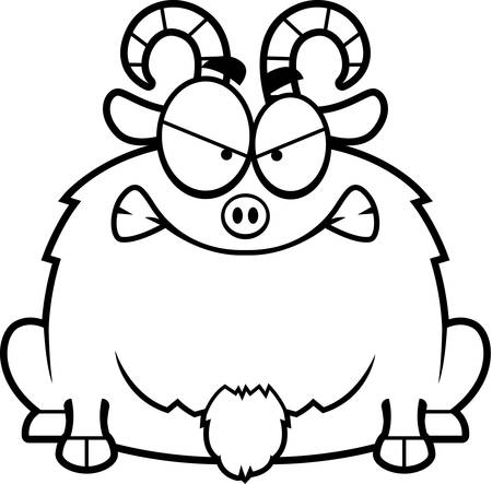 A cartoon illustration of a little goat looking mad.