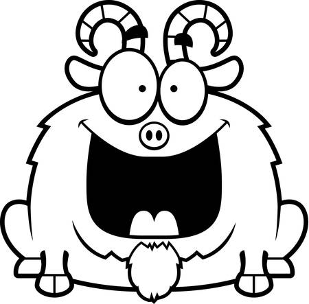 billy: A cartoon illustration of a little goat looking happy. Illustration