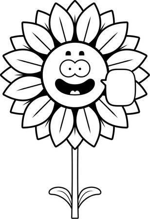 A cartoon illustration of a sunflower talking. Çizim