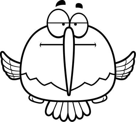 探しているハチドリの漫画イラストは退屈。  イラスト・ベクター素材