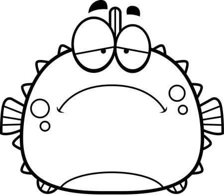 spines: A cartoon illustration of a blowfish looking sad.