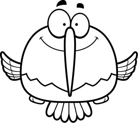 smilling: A cartoon illustration of a hummingbird smiling.