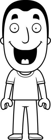 A happy cartoon man standing and smiling.