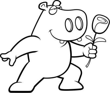 A happy cartoon hippo with a flower. Ilustracja