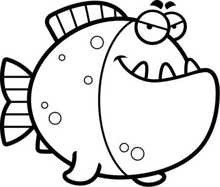 Una Ilustración De Dibujos Animados De Una Piraña Con Una Expresión ...