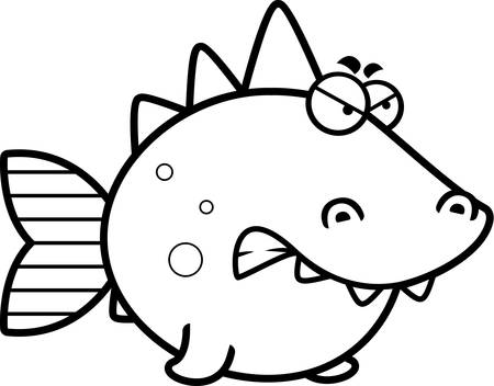 A cartoon illustration of a prehistoric fish with an angry expression.