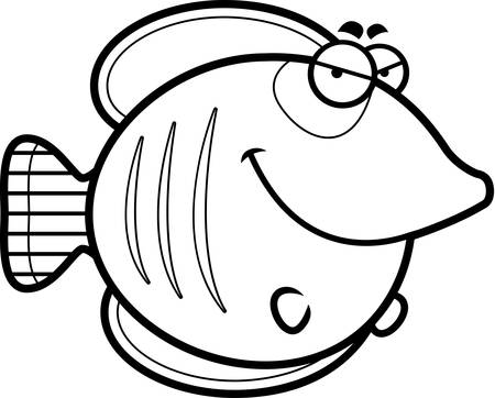 butterflyfish: A cartoon illustration of a butterflyfish with a sly expression.