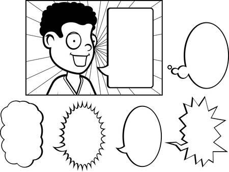 다양 한 단어 거품을 얘기하는 행복 만화 자식. 일러스트