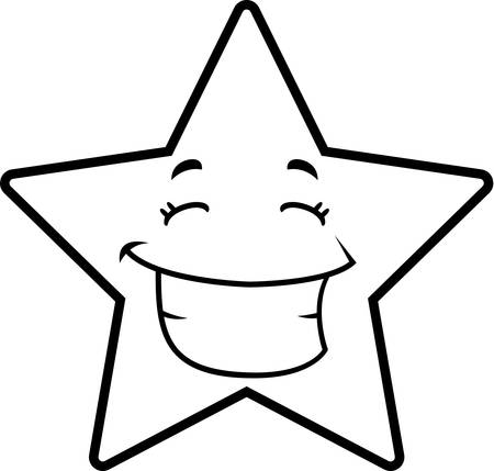 A cartoon gold star happy and smiling.