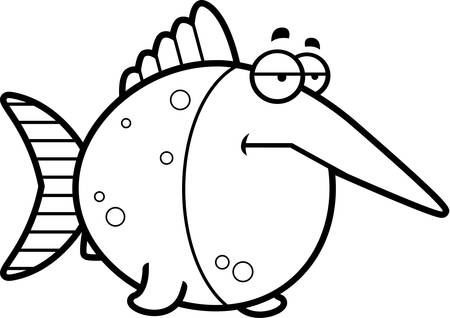 mild: A cartoon illustration of a swordfish looking bored.