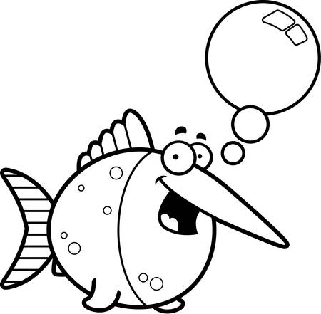 pez espada: Una ilustración de dibujos animados de un parlante pez espada.