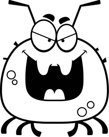 A cartoon illustration of an evil looking tick.