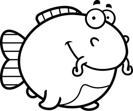 catfish: A cartoon illustration of a catfish happy and smiling. Illustration