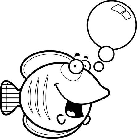 A cartoon illustration of a butterflyfish talking. Illustration