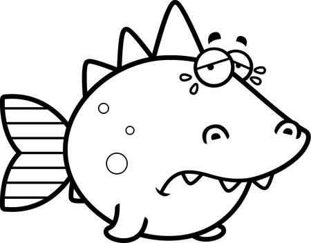 A cartoon illustration of a prehistoric fish sad and crying.