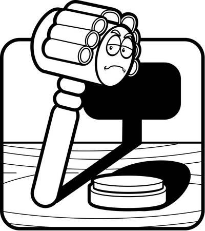 A cartoon gavel dressed like a judge. Banco de Imagens - 43373713