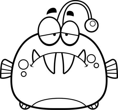 frowning: A cartoon illustration of a viperfish looking sad.