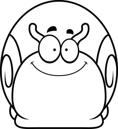 A cartoon illustration of a snail smiling.