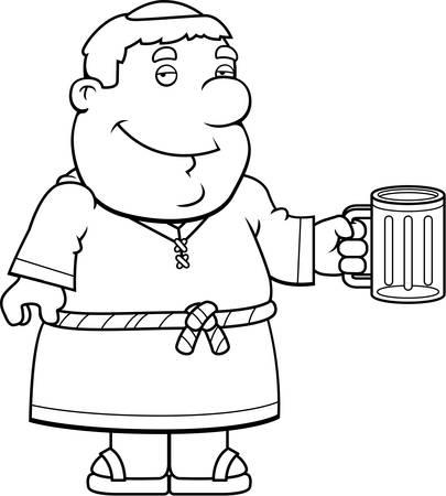 friar: A happy cartoon friar with a mug of beer. Illustration