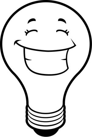 A cartoon light bulb smiling and happy.