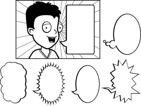 A happy cartoon child talking with a variety of word bubbles. Stock Illustratie