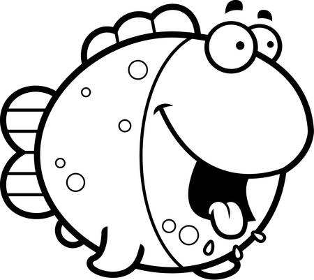 A cartoon illustration of a fish looking hungry.