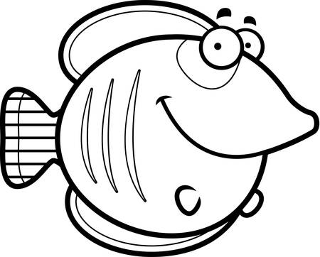 A cartoon illustration of a butterflyfish happy and smiling. Illustration