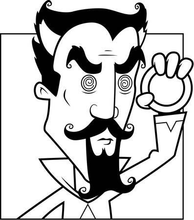 amulet: A cartoon hypnotist with a magical amulet.