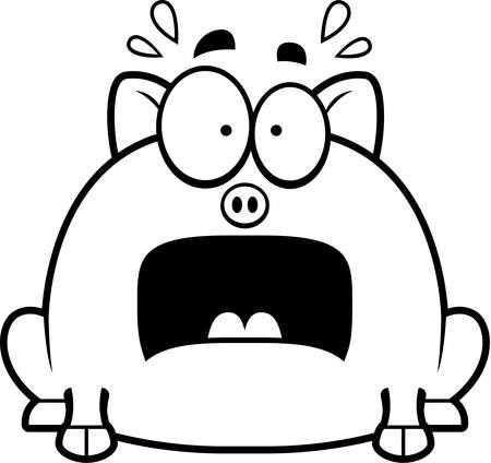 terrified: A cartoon illustration of a little pig looking terrified.