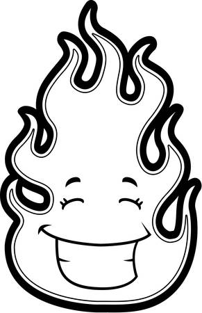 A cartoon red flame smiling and happy.