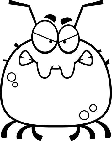 A cartoon illustration of a tick looking angry. Illustration