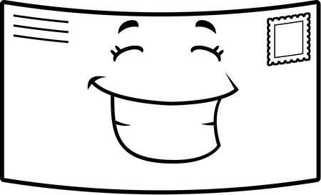 A cartoon stamped letter happy and smiling. Иллюстрация