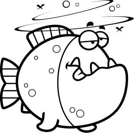 intoxicated: A cartoon illustration of a piranha looking drunk.
