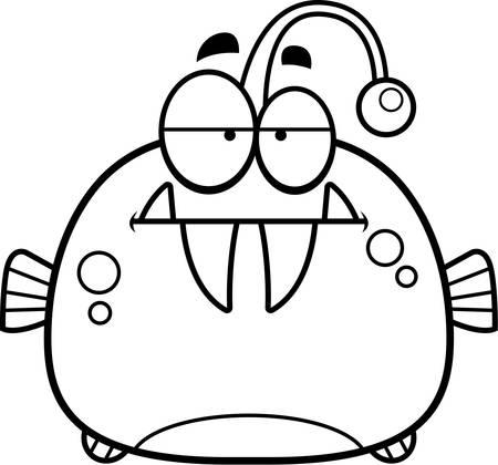 bored: A cartoon illustration of a viperfish looking bored.