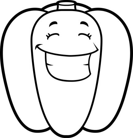bell pepper: A cartoon illustration of a green bell pepper smiling and happy.