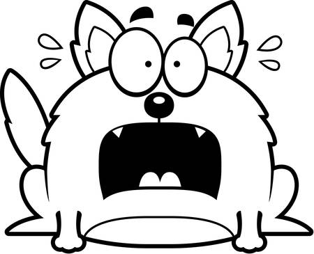 perro asustado: Un ejemplo de la historieta de un lobo que mira aterrorizada. Vectores