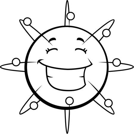 cartoon atom: A cartoon blue atom happy and smiling. Illustration