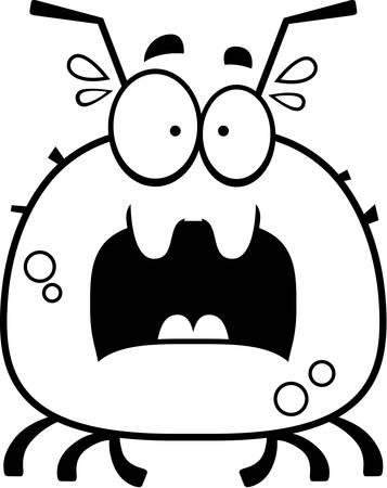 cartoon tick: A cartoon illustration of a tick looking scared.