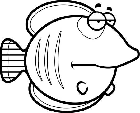 A cartoon illustration of a butterflyfish looking bored.