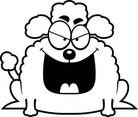 A cartoon illustration of a sinister looking little poodle.