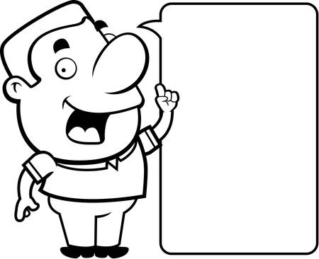 guy standing: A happy cartoon man talking and smiling. Illustration